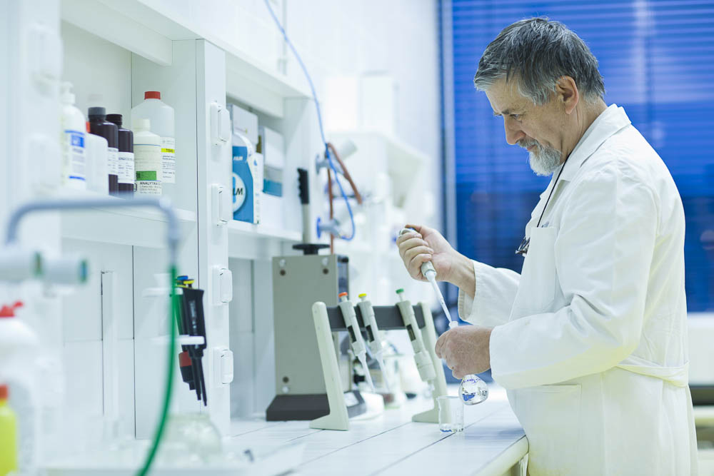 WS Man in Laboratory performing water testing
